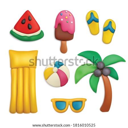 plasticine summer objects set