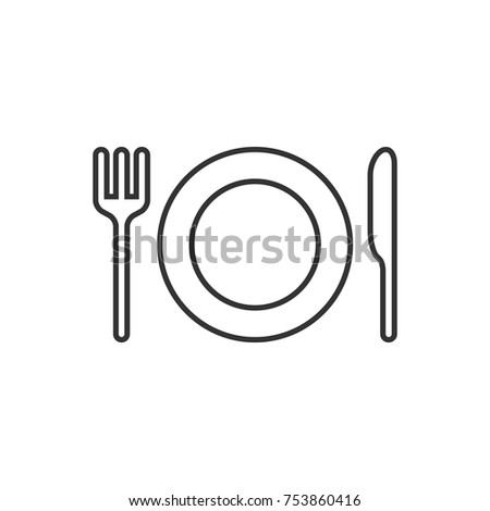 Plate and cutlery line icon on white background