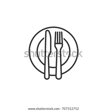 plate and knife with a fork