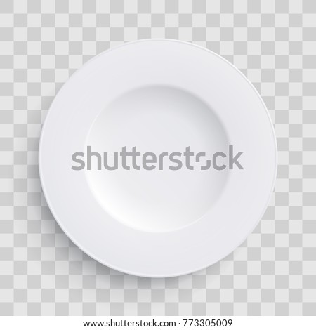 Plate dish 3D white round isolated on transparent background. Vector porcelain soup plate or bowl. Disposable plastic or paper realistic kitchenware icon