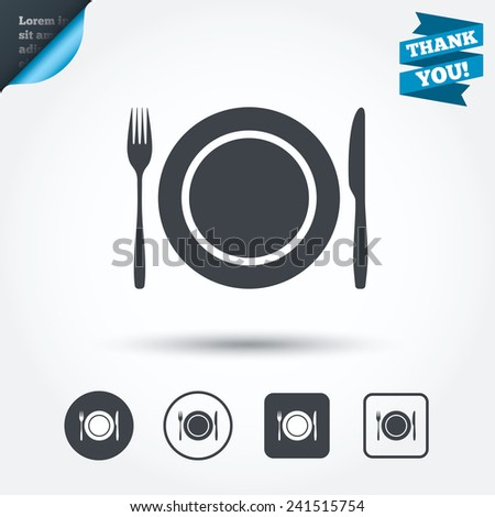 Plate dish with fork and knife. Eat sign icon. Cutlery etiquette rules symbol. Circle and square buttons. Flat design set. Thank you ribbon. Vector