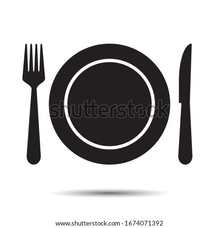 Plate, fork and knife Icon. Vector for dinner