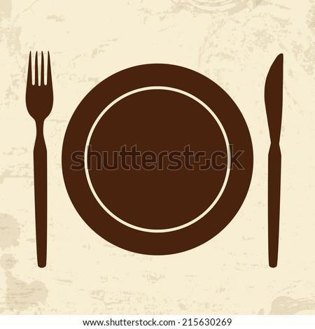 Plate fork and knife on vintage grunge background vector illustration