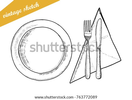 plate fork and knife vector cutlery. sketch isolated on white background