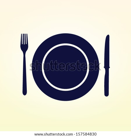 Plate fork and knife vector illustration