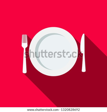 Plate, Fork and knife with long shadow flat design cartoon vector illustration