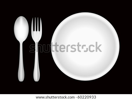 Plate, fork, and spoon