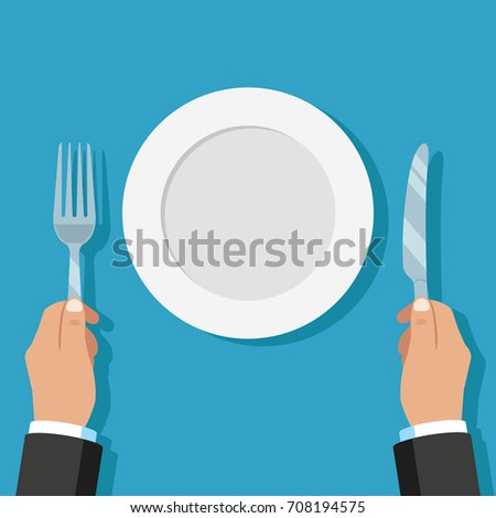 Plate. Fork, knife in hand. Vector illustration. Vector.