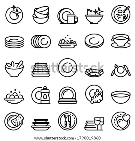 Plate icons set. Outline set of plate vector icons for web design isolated on white background
