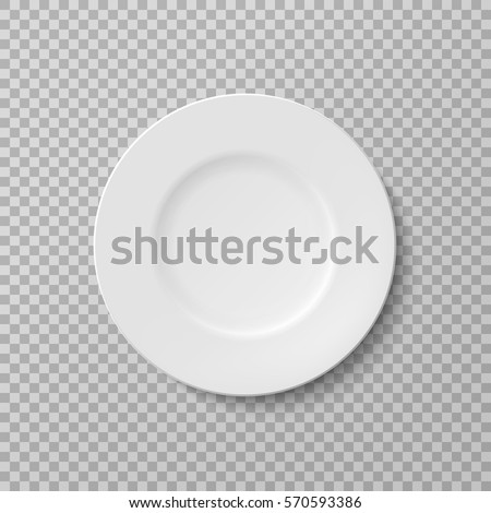 Plate, isolated vector object on a transparent background. White kitchen appliances utensils for eating, Illustration for your projects.