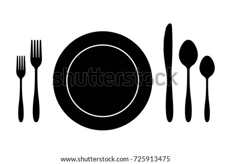 Plate knife fork and spoon. cutlery set vector illustration