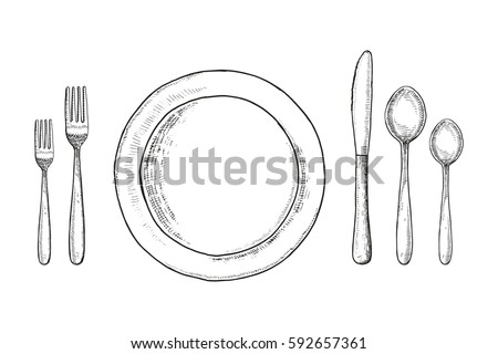 Plate knife fork and spoon sketch. cutlery set Vintage vector illustration