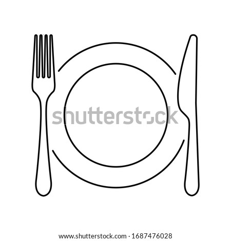 Plate, knife, spoon and fork line icon. Vector illustration Photo stock ©