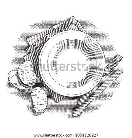 Plate. Serving. Hand drawn engraving style illustrations.