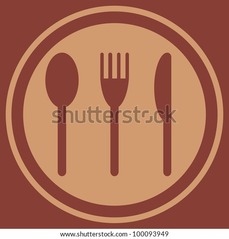 Plate with a spoon, fork and knife (EPS 8)