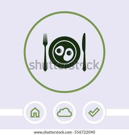 Plate with fried egg vector icon.