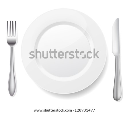 plate with knife and fork on white