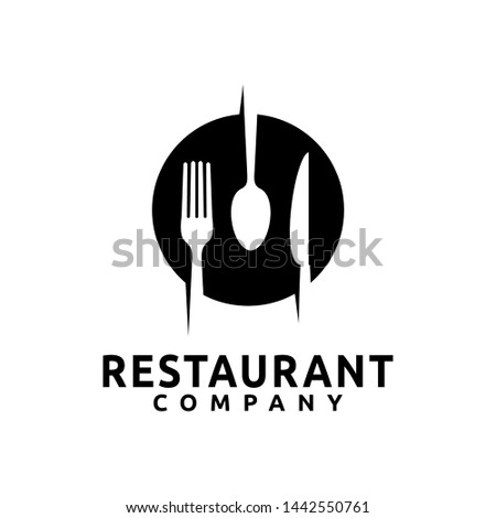 Plate with spoon, knife, and fork logo