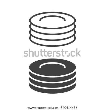 Plates, dishes line icon, outline and filled vector sign, linear and full pictogram isolated on white. Symbol, logo illustration
