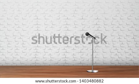 Platform For Stand Up Comedy Show Template Vector. Silver Metal Leg Microphone, Wooden Floor And White Brick Wall Interior Of Club Platform For Humor Performance. Realistic 3d Illustration
