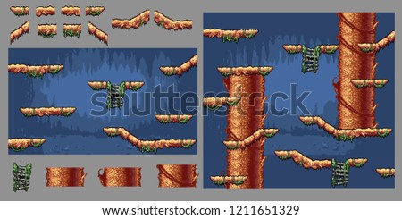 platform forest tree game pixel