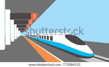 Platform of railway station with hight-speed train