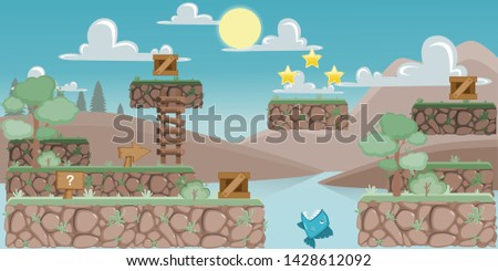 PLATFORMER GAME PACK 2D. You can use this background for a game or application project. 100% vector.