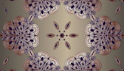 platinum retro, background, vintage copper embossed pattern of twisted spirals in the shape of a flower