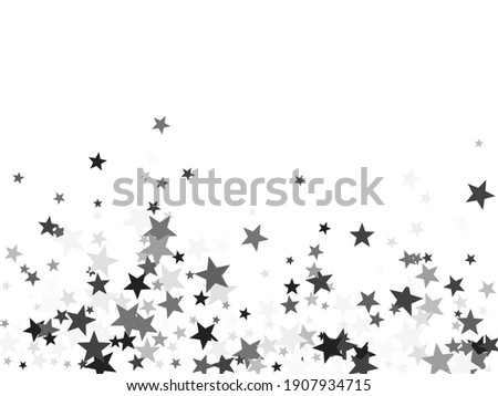 Platinum stars confetti pretty holiday vector background. Small dazzle star sparkles magical illustration. Black abstract party decoration elements on white. Stock photo ©