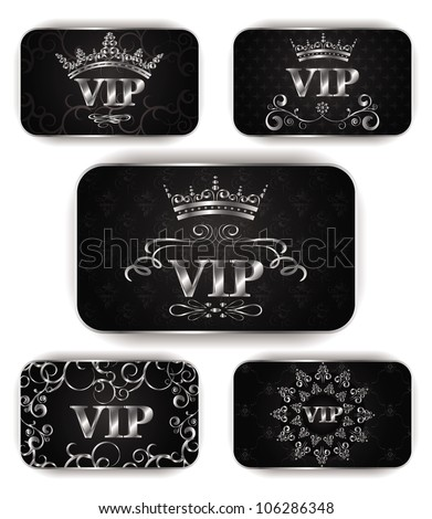 platinum vip cards with floral pattern