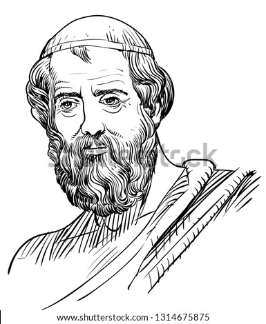 Plato (428-348 BC) portrait in line art. He was an ancient Greek philosopher, mathematician, author of philosophical dialogues and founder of the Academy, student of Socrates, teacher of Aristotle.