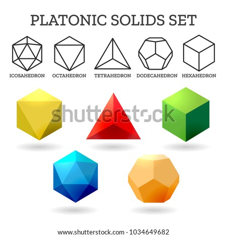 Platonic 3d shapes. Platon geometry abstract solid icons isolated on white background, vector illustration