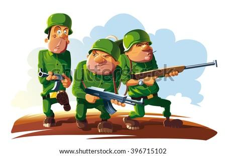 platoon of three soldiers