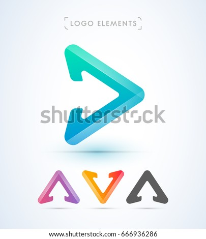 Play and arrow sign logo elements. Origami paper style, material design. Letter A and V