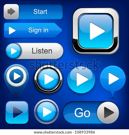 Play blue web buttons for website or app. Vector eps10.