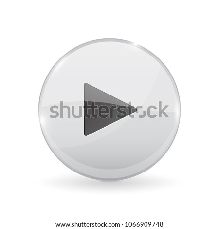 Play button. Glass shiny 3d icon. Vector illustration isolated on white background #1066909748