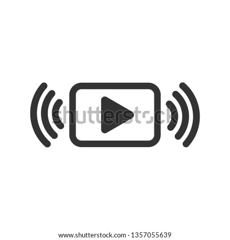 Play button icon in flat style. Streaming tv vector illustration on white isolated background. Broadcast business concept.