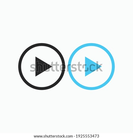 Play button icon in trendy flat style isolated on grey background. Play symbol for your web site design, logo, app, UI. Vector illustration