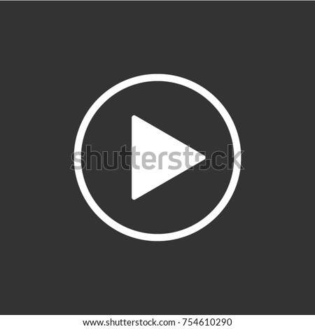 Play button icon in trendy flat style isolated on grey background. Play symbol for your web site design, logo, app, UI. Vector illustration, EPS10.