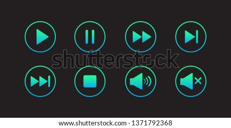 Play button icon. Media player control icon set. Modern design. Vector illustration.
