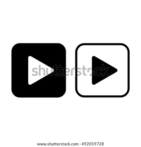 Play button icon vector. Black and white