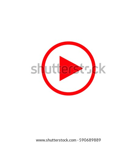 play button icon vector. red...