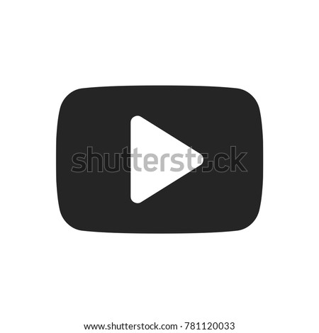 Play button icon, youtube logo symbol. Video pictogram, flat vector sign isolated on white background. Simple vector illustration for graphic and web design.