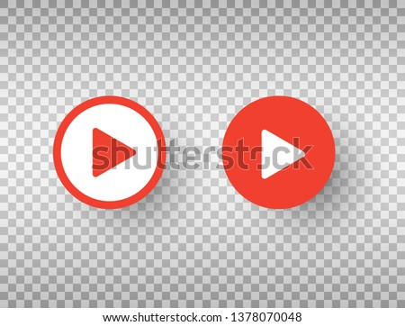 Play button icons set isolated on transparent background. Social media symbol. Design template for web, apps. Vector illustration.
