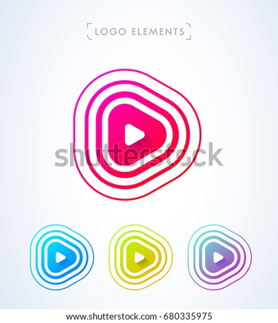Play button logo. Pulse waves, sonar, sound. Application icon
