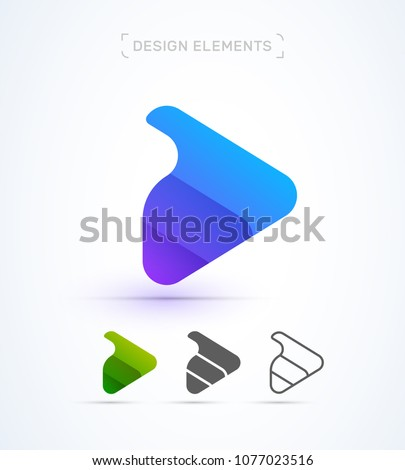 Play button logo template. Video and Music player icon design. Vector, abstract, material design, flat and line art style