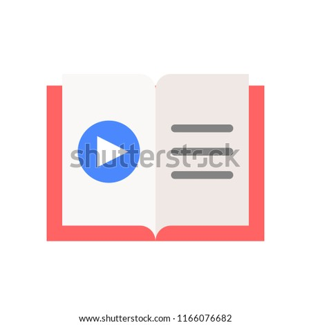 play button on book, online education icon concept
