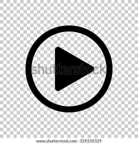 play button vector icon - black illustration