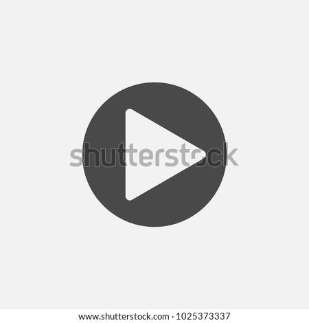 play button vector icon for media videos websites