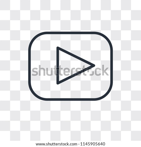 Play button vector icon isolated on transparent background, Play button logo concept